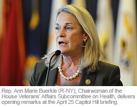 Rep. Ann Marie Buerkle (R-NY), Chairwoman of the House Veterans' Affairs Subcommittee on Health, delivers opening remarks at the April 25 Capitol Hill briefing.