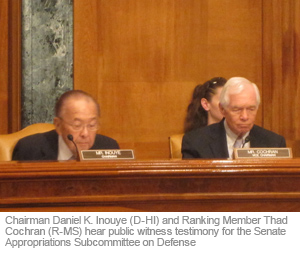 Chairman Daniel K. Inouye (D-HI) and Ranking Member Thad Cochran (R-MS) hear public witness testimony for the Senate Appropriations Subcommittee on Defense