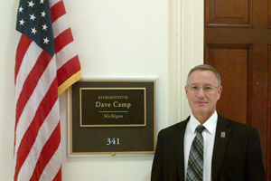 Gary Dunbar, Central Michigan University, visits the office of Rep. Dave Camp.