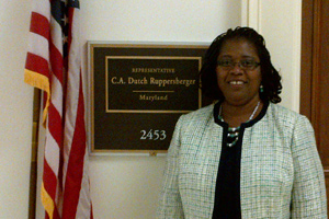 Pamela Scott-Johnson, Morgan State University, visits the office of Rep. C.A. Dutch Ruppersberger.