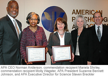 APA CEO Norman Anderson, commendation recipient Mariela Shirley, commendation recipient Molly Wagster, APA President Suzanne Bennett Johnson, and APA Executive Director for Science Steve Breckler