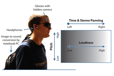 Figure 1. The hardware requirements for visual-to-auditory sensory substitution, and the conversion principles employed by The vOICe. Figure adapted from Proulx et al. (Proulx et al., 20082008).