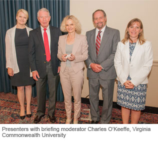 Presenters with briefing moderator Charles O'Keeffe, Virginia Commonwealth University.