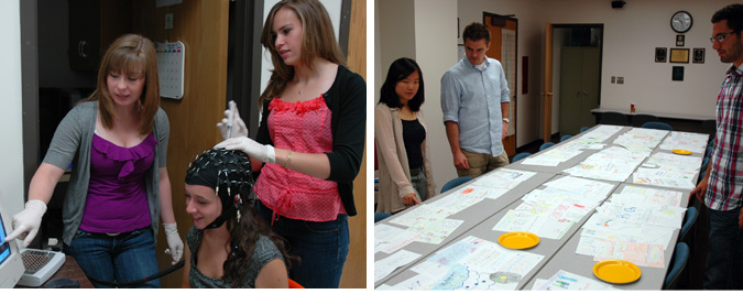 Left photo: Fellows Jessica Braymiller and Jamielyn Samper examine a study participant's brainwaves. Right photo: Fellows Eureka Foong and Juan Guevara examine drawings by participants in a creativity study with Rob Youmans, PhD (center).