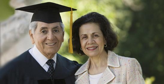 Older person graduating