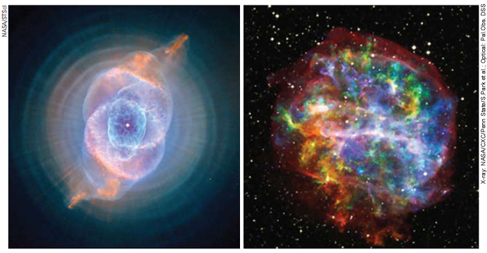 Cat's Eye Nebula (left) and supernova remnant (right