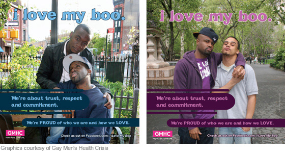 Gay Men's Health Crisis ran this campaign. These images appeared in NYC subway trains and stations.