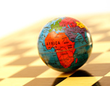 Globe on a chess board