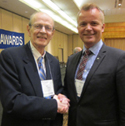 Dan Olweus (left) and Norwegian Psychological Association President Tor Levin Hofgaard.
