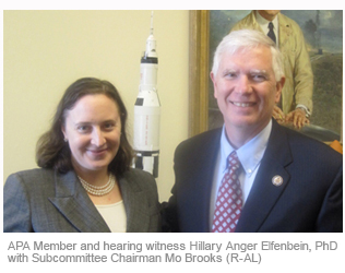 APA Member and hearing witness Hillary Anger Elfenbein, Phd with Subcommittee Chairman Mo Brooks (R-AL)