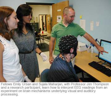 Fellows Emily Urban and Sujala Maharjan, with Professor Jim Thompson and a research participant, learn how to interpret EEG readings from an experiment on brain mechanisms underlying visual and auditory processing.
