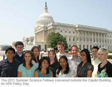 The 2011 Summer Science Fellows convened outside the Capitol Building on APA Policy Day.