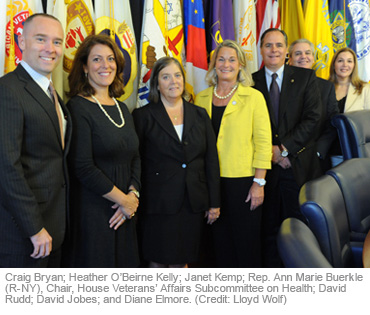 Craig Bryan; Heather O'Beirne Kelly; Janet Kemp; Rep. Ann Marie Buerkle (R-NY), Chair, House Veterans' Affairs Subcommittee on Health; David Rudd; David Jobes; and Diane Elmore. (Credit: Lloyd Wolf)